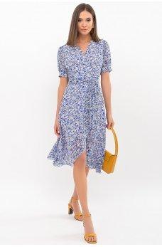Голубое принтованное летнее платье на запах