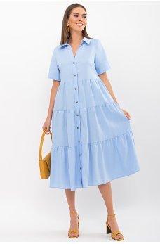 Голубое универсальное женское многоярусное платье