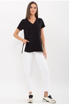 Черная обыденная женская футболка
