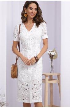Белое элегантное летнее платье миди
