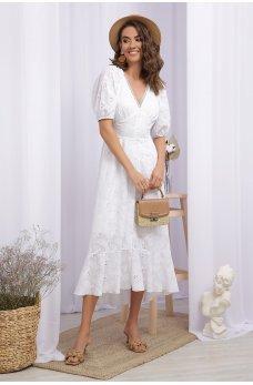 Белое элегантное женское платье миди из прошвы