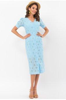 Голубое фееричное платье из прошвы