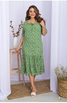 Зеленое женское платье батал с принтом