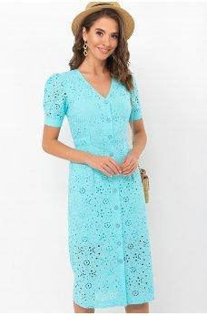 Бирюзовое интригующее платье миди из прошвы
