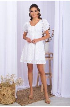 Белое аккуратное платье мини из прошвы