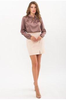 Бежевая изящная короткая женская юбка