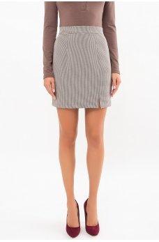 Коричневая стильная юбка мини с принтом гусиная лапка