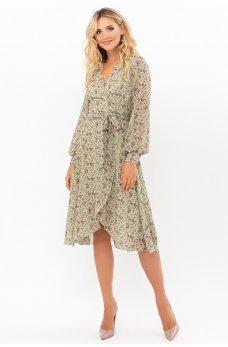 Очаровательное платье на запах цвета хаки