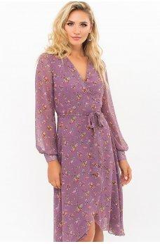 Лиловое привлекательное шифоновое платье на запах