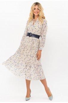 Молочное обворожительное шифоновое платье с поясом