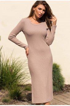 Светло-бежевое универсальное платье миди