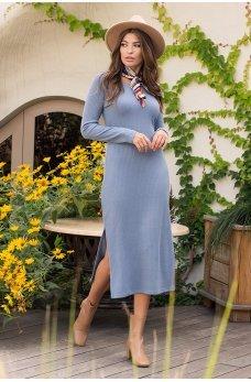 Светло-джинсовое игривое трикотажное платье миди