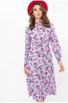 Лавандовое утонченное романтическое платье с принтом