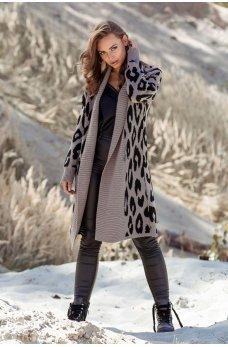 Принтованное женское пальто-кардиган цвета мокко