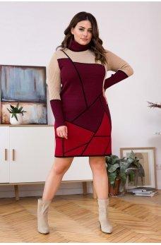Теплое вязаное платье с геометрическим орнаментом (вишня/бордо)
