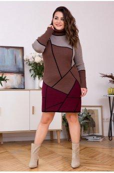 Вязаное теплое платье с геометрическим орнаментом (шоколад/вишня)