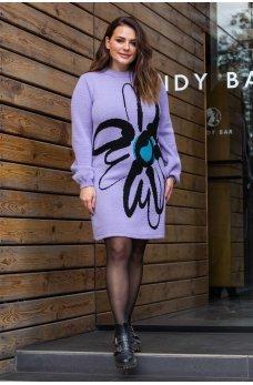 Лиловое вязаное платье с цветком