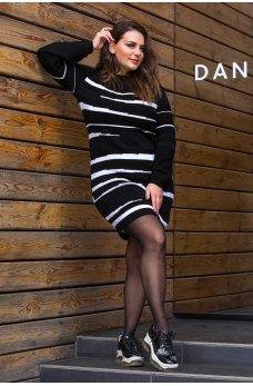 Черное вязаное платье большого размера