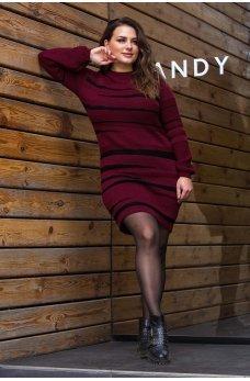 Вязаное платье цвета марсала большого размера