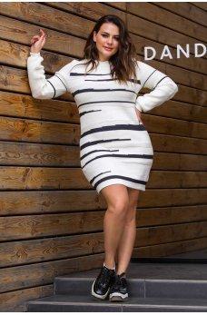 Белое вязаное платье большого размера