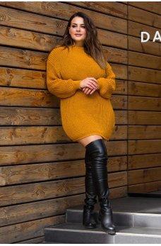 Вязаная туника-платье горчичного цвета