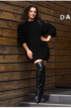 Вязаная платье-туника черного цвета