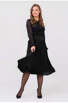 Вязаная юбка плиссе миди (черный)