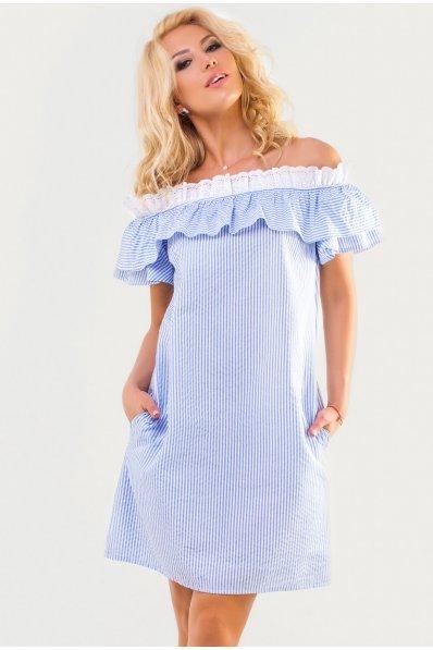 Летнее хлопковое платье трапеция в бело-голубую полоску