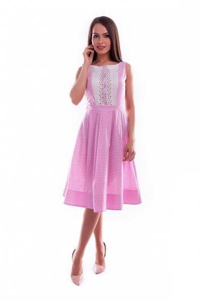 Хлопковое платье розовое с декором