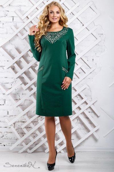 Стильное изумрудное платье с перфорацией