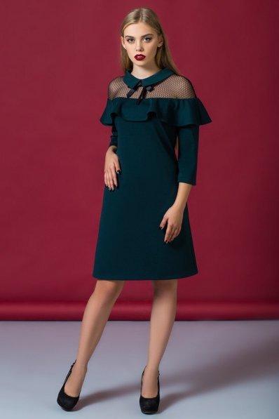 Изумрудное нарядное платье с воланом
