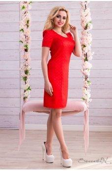 Ярко красное платье футляр