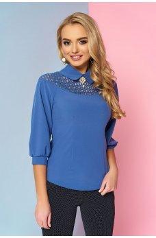 Элегантная синяя блузка с рукавом-реглан 3/4 на манжете