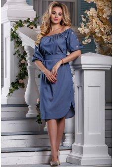Элегантное летнее платье из синего коттона