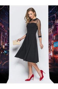 Элегантное платье-миди с летящей юбкой и итонским воротничком