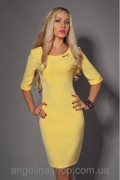 Желтое платье с молнией
