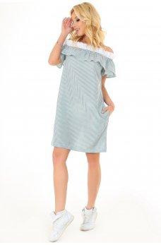 Літнє бавовняне плаття трапеція в біло-зелену смужку