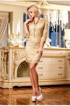 Нарядное кофейное платье из гипюра