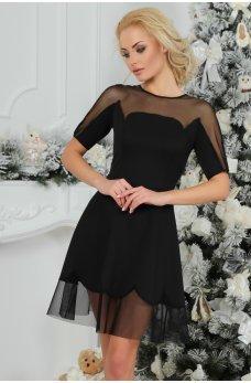 Кокетливое черное платье с вставками