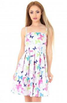 Коктейльне плаття білого з малиновим кольору