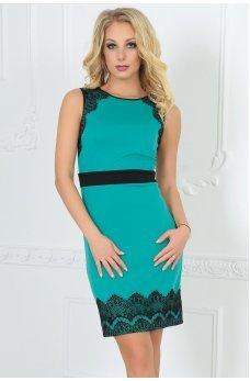 Коктейльное мятное платье футляр