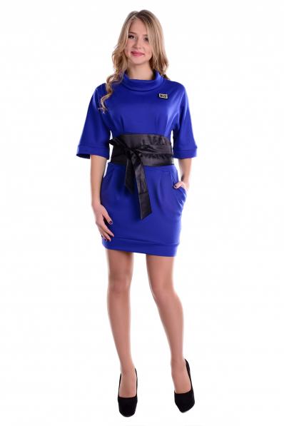 Комфортне сине плаття з поясом