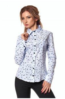 Коттоновая рубашка в синий листочек