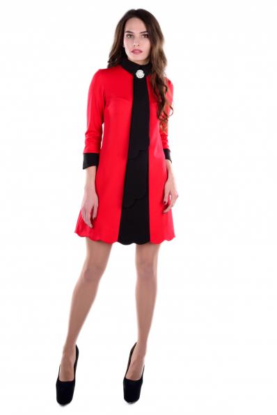 Красно-черное платье А-силуэта