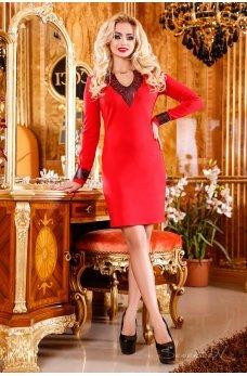 Алое платье с кожаным декором