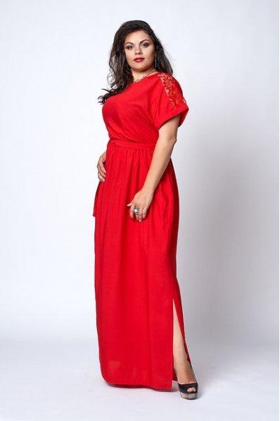 Красный длинный сарафан из штапеля
