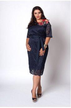 Кружевное темно-синее платье