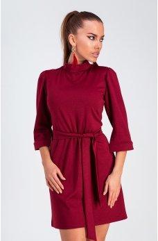 Бордовое платье из мягкого трикотажа