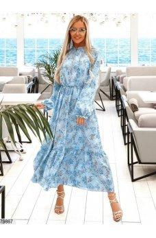 Нежное голубое платье с цветами