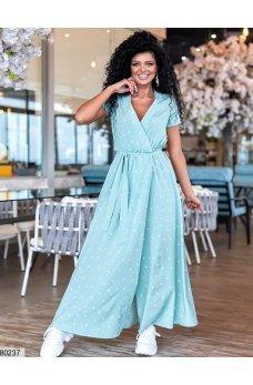 Длинное мятное платье в горошек